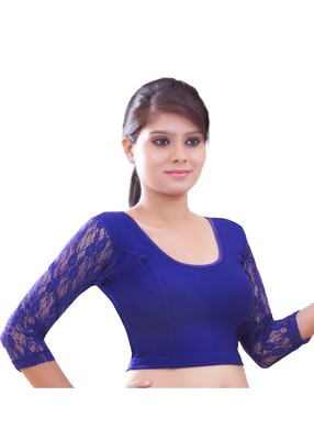 Women's Royal Blue Stretch Lycra Non Padded Stretchable Readymade Blouse