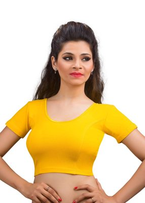 Women's Dark Yellow Cotton Lycra Non Padded Stretchable Readymade Blouse