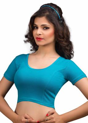 Women's firozi Cotton Lycra Non Padded Stretchable Readymade Blouse