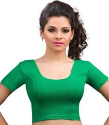 Women's green Cotton Lycra Non Padded Stretchable Readymade Blouse