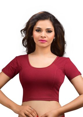 Women's maroon Cotton Lycra Non Padded Stretchable Readymade Blouse