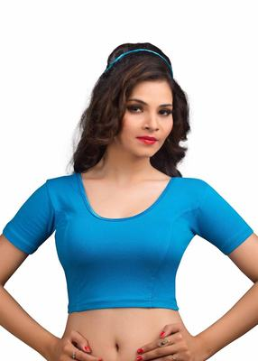 Women's peacock blue Cotton Lycra Non Padded Stretchable Readymade Blouse