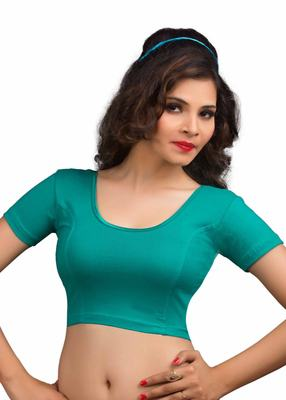 Women's Rama Green Cotton Lycra Non Padded Stretchable Readymade Blouse