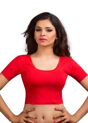 Women's red Cotton Lycra Non Padded Stretchable Readymade Blouse