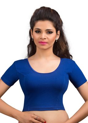 Women's royal blue Cotton Lycra Non Padded Stretchable Readymade Blouse