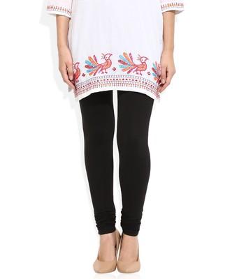 Black Cotton Lycra plain Cotton Lycra leggings