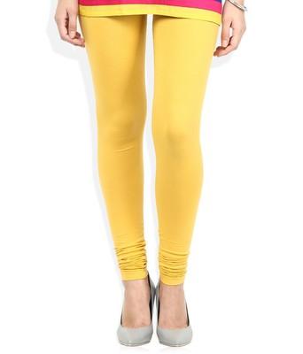 Yellow Cotton Lycra plain Cotton Lycra leggings