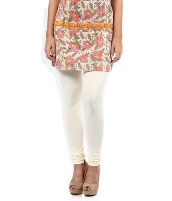 White Cotton Lycra plain Cotton Lycra leggings