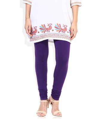 Purple Cotton Lycra plain Cotton Lycra leggings