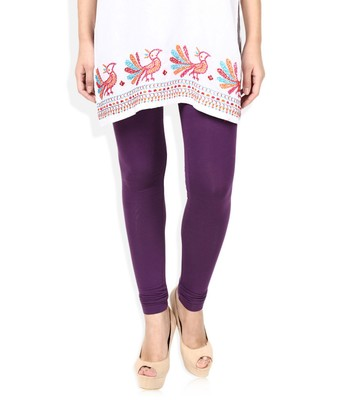 Purple Cotton Lycra plain Cotton Lycra leggings