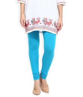 Blue Cotton Lycra plain Cotton Lycra leggings