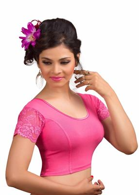 Women's Light Pink Cotton Lycra Non Padded Stretchable Readymade Blouse