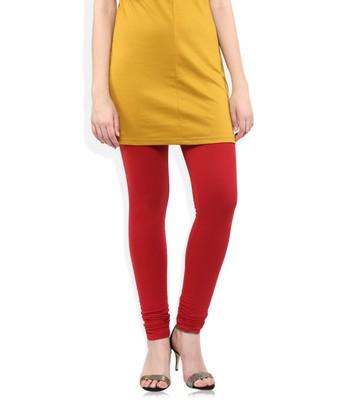 Red Cotton Lycra plain Cotton Lycra leggings