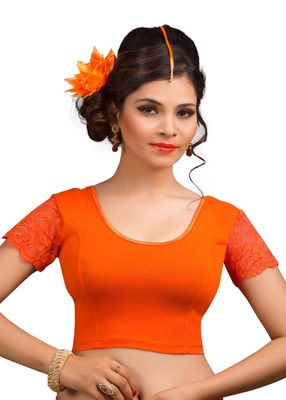 Women's Orange Cotton Lycra Non Padded Stretchable Readymade Blouse