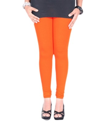 Orange Cotton Lycra plain Cotton Lycra leggings