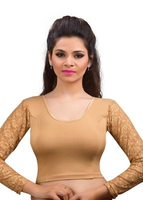 Women's dark gold Cotton Lycra Non Padded Stretchable Readymade Blouse
