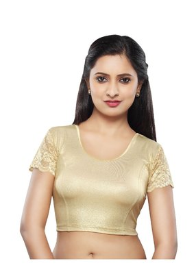 Women's light gold Shimmer Non Padded Stretchable Readymade Blouse
