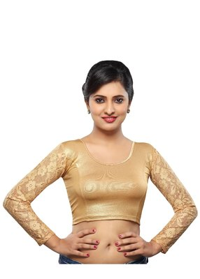 Women's Copper Shimmer Non Padded Stretchable Readymade Blouse