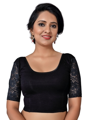 Women's black Cotton Lycra Non Padded Stretchable Readymade Blouse