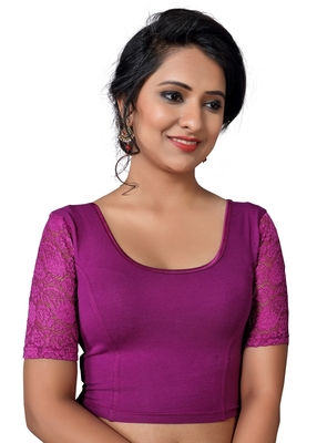 Women's Purple Cotton Lycra Non Padded Stretchable Readymade Blouse