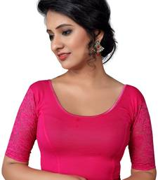 Women's Pink Cotton Lycra Non Padded Stretchable Readymade Blouse