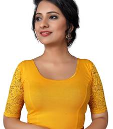 Women's yellow Cotton Lycra Non Padded Stretchable Readymade Blouse
