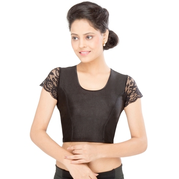 Women's black Shimmer Non Padded Stretchable Readymade Blouse