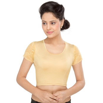 Women's gold Shimmer Non Padded Stretchable Readymade Blouse