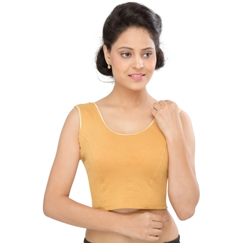 Women's Gold Cotton Lycra Non Padded Stretchable Readymade Blouse
