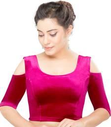 Women's pink Velvet Non Padded Stretchable Readymade Blouse