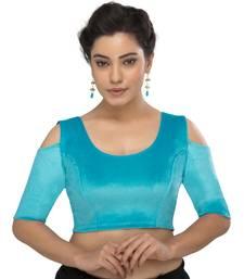 Women's sky blue Velvet Non Padded Stretchable Readymade Blouse