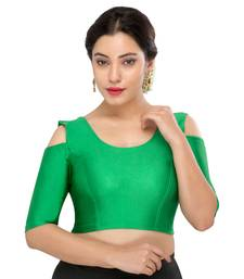Women's green Nylon Non Padded Stretchable Readymade Blouse