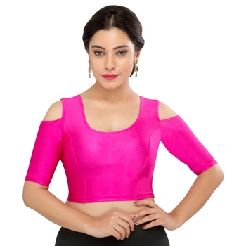 Women's pink Nylon Non Padded Stretchable Readymade Blouse