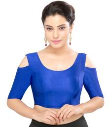 Women's royal blue Nylon Non Padded Stretchable Readymade Blouse