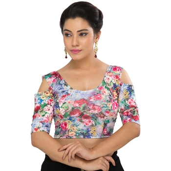 Women's Multi Nylon Non Padded Stretchable Readymade Blouse