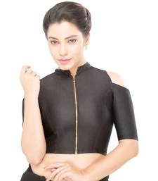Women's black Nylon Non Padded Stretchable Readymade Blouse