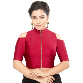 Women's maroon Nylon Non Padded Stretchable Readymade Blouse