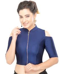 Women's 0vy blue Nylon Non Padded Stretchable Readymade Blouse