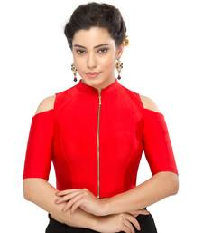 Women's red Nylon Non Padded Stretchable Readymade Blouse
