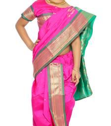 Buy Girls Ready To Wear Stitched Designer Nauvari Saree With Stitched Blouse kids-saree online