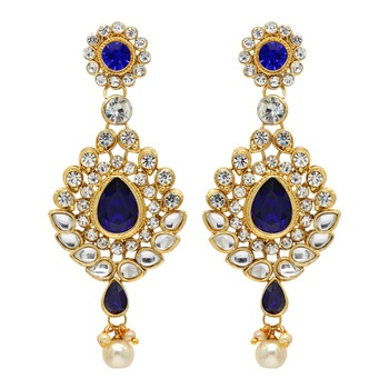 blue color beautiful kundan earrings for girls amp women