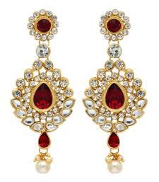 Festive Collection Maroon Color Kundan Earrings