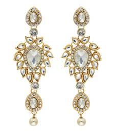 White Color Traditional Kundan Earrings For Girls & Women