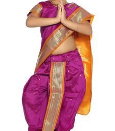Buy Girls Stitched Traditional Nauvari Saree With Stitched Blouse kids-saree online