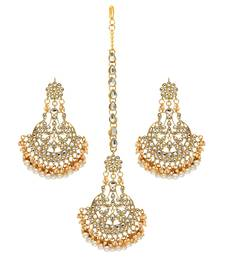 Festive Special White Color Imitation Peral Kundan Earrings With Maang Tikka For Women