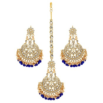 Festive Collection Blue Color Imitation Peral Kundan Earrings With Maang Tikka
