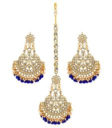 Festive Collection Blue Color Imitation Peral Kundan Earrings With Maang Tikka