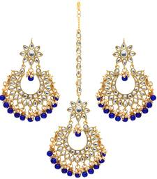 Blue Color Imitation Peral Kundan Earrings With Maang Tikka