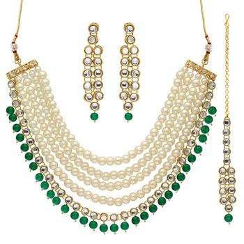 Green Color Imitation Pearl Beautiful Kundan Necklace With Earrings & Maang Tikka