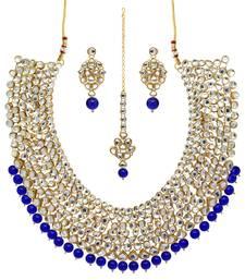 Blue Color Imitation Pearl Kundan Necklace With Earrings & Maang Tikka